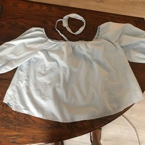 off the shoulders blue blouse with choker attached